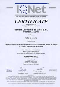 Our Italian school in Rome is certified to meet ISO 9001:2000, the internationally recognized standard for quality management systems