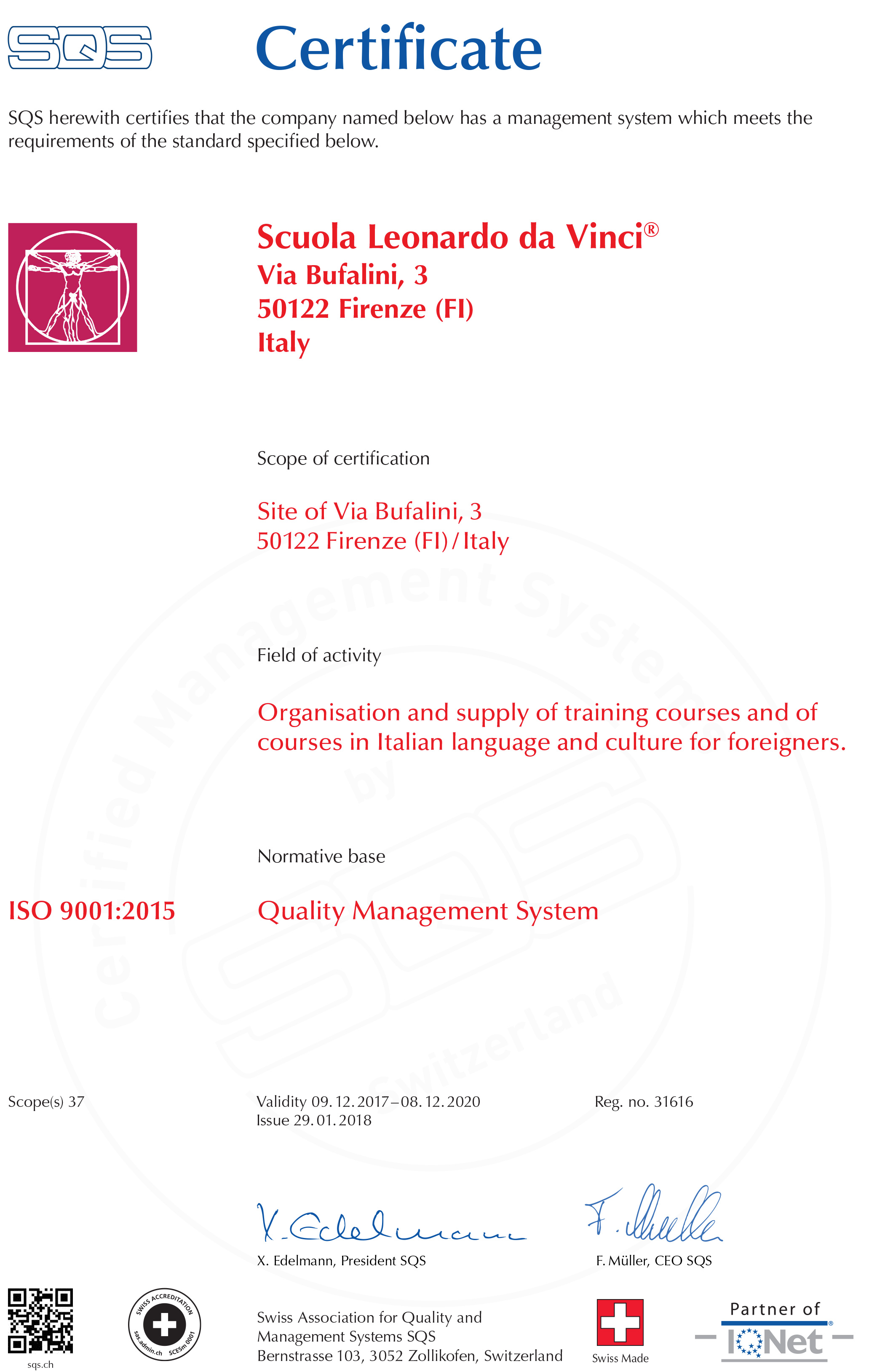 sqs florence iso 9001 2015
